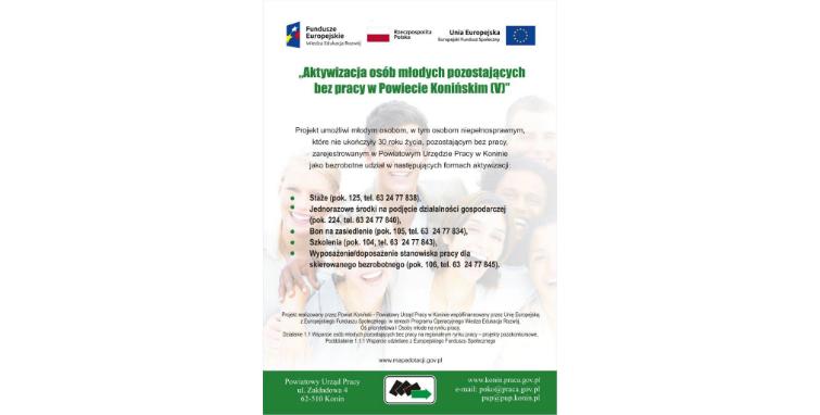 """Nabory w ramach projektu """"Aktywizacja osób młodych pozostających bez pracy w Powiecie Konińskim (V)"""""""